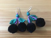 orecchini con ciliege nere