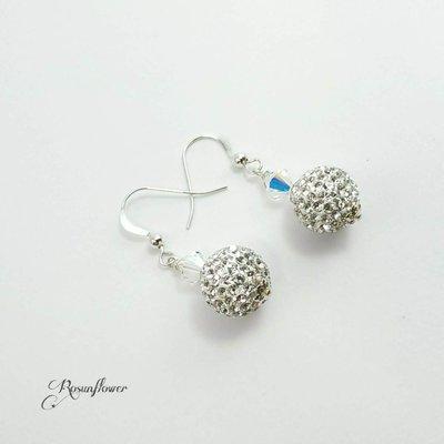Orecchini argento 925 con perla in cristallo di Boemia, orecchini luminosi per lei, regalo amica