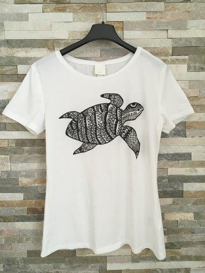 Maglietta di cotone bianca con tartaruga in stile mandala