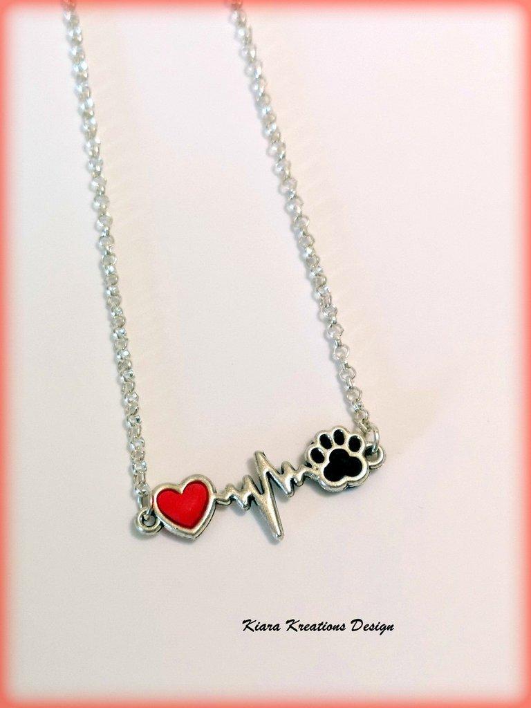 comprare popolare e538b 33c51 Collana cane, collana gatto, collana con cuore e zampetta per gli amanti di  cani e gatti, gioielli cani, gioielli gatti, gioielli animali
