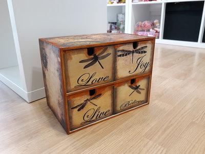 minicassettiera in legno stile vintage