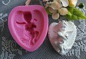 Stampo cuore con angelo cm.6,5x5,5