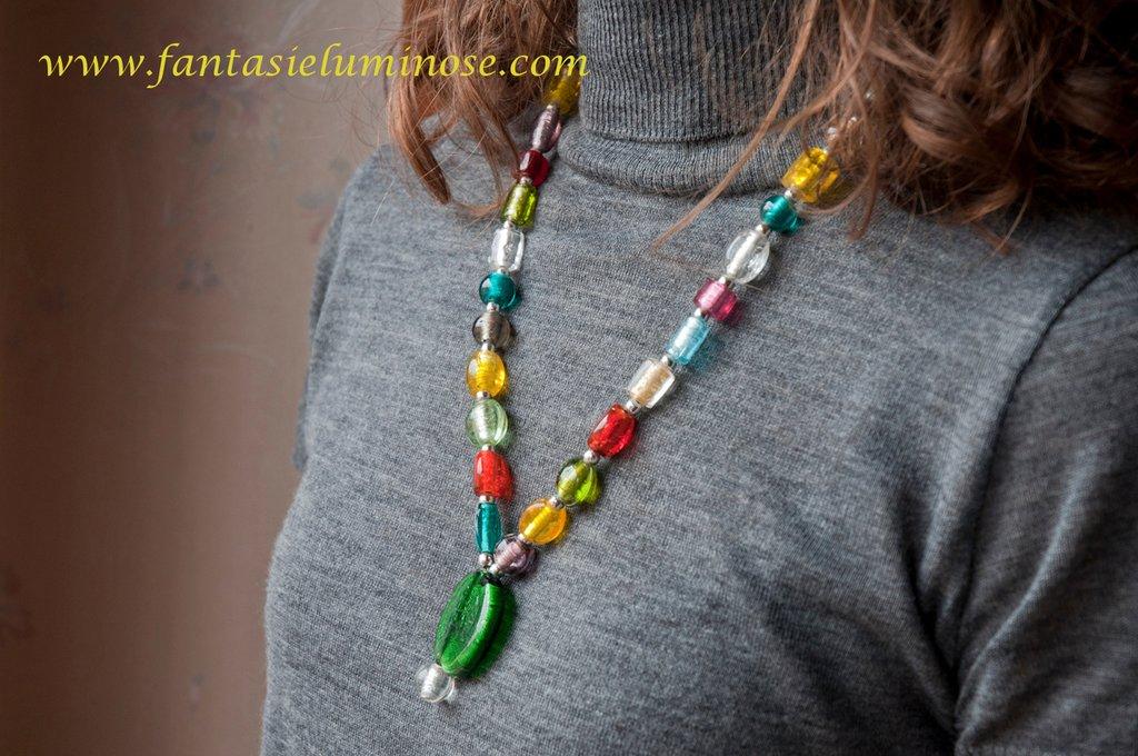 collana perle di vetro multicolor