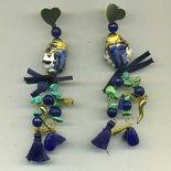 ORECCHINI pendenti con coppia di testine doppie di mori in ceramica siciliana blu e oro