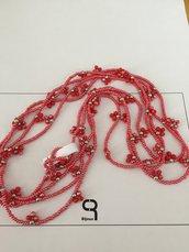 Collana lunga rosso corallo