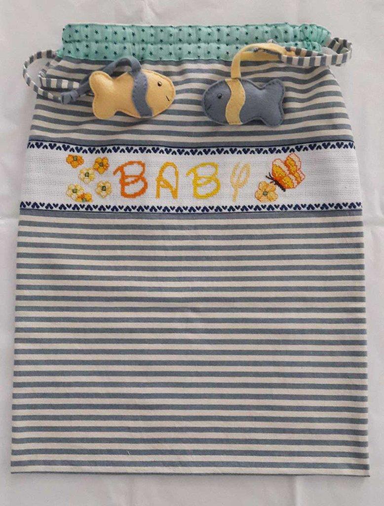 Favoloso Sacca da mare porta pannolini e tutina per bebè azzurra con ricamo UE19