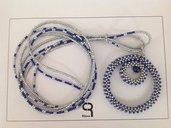 Collana con pendente argento/blu