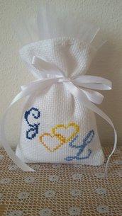 MATRIMONIO  sacchetti per confetti ricamo punto croce tela aida bianca