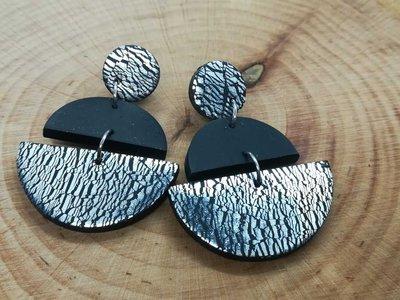 orecchini da donna in pasta polimerica, nero e argento