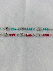 Bracciale acciaio freccia e swarovski verde o rosso fatto a mano