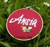 Ricamo in telaio - embroidery - tema floreale - ANSIA - rose rosa, gialle e grigie . handmade  - kawaii - idea regalo mamma