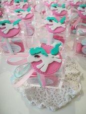 Bomboniere unicorno Calamita Magnete rosa Tiffany. Idea regalo compleanno. Bomboniere bimba. Unicorni.