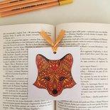 Segnalibro di cartoncino con volpe in stile mandala disegnata a mano libera