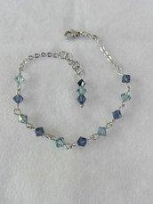 Bracciale acciaio con swarovski blu e azzurri fatto a mano