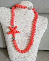 Collana di Agata color corallo