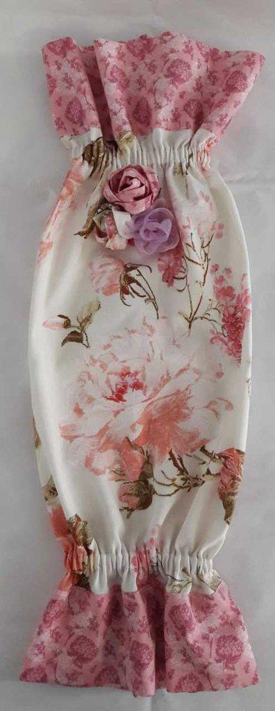 Portasacchetti romantico rosa shabby chic con rose rosa
