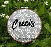Ricamo in telaio - embroidery - con scritta in napoletano - C' eccis - handmade ricamo - ricamato - idea regalo