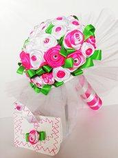 Bouquet sposa raso fucsia