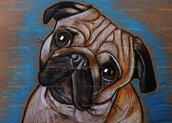Ritratto disegno cane carlino pastelli