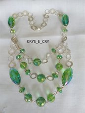 collana con catena in argento e cristallo