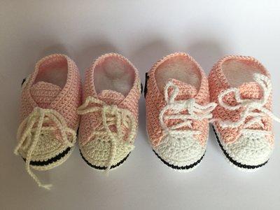 Scarpette cotone rosa e celeste
