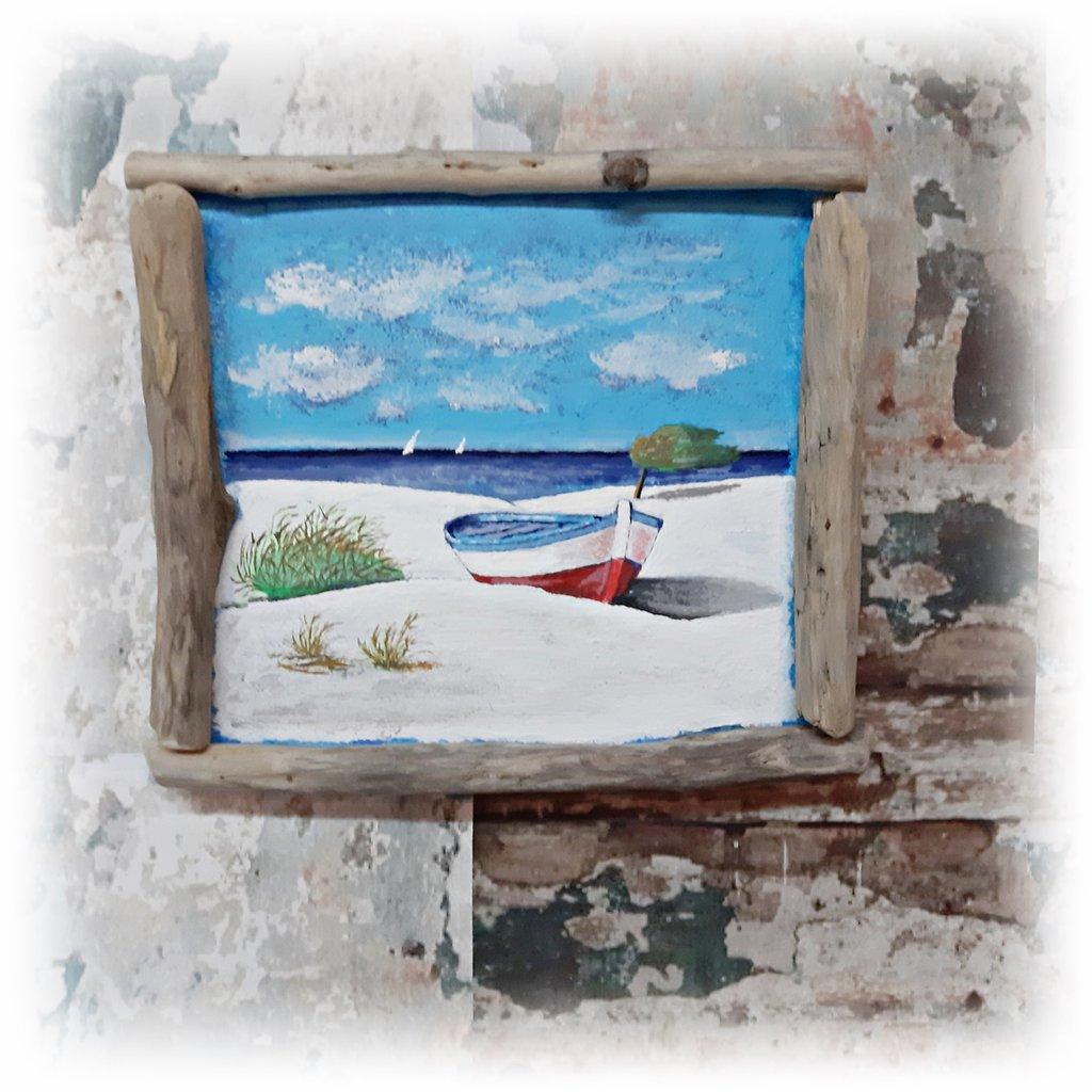 Quadro marino con barca e legni spiaggiati