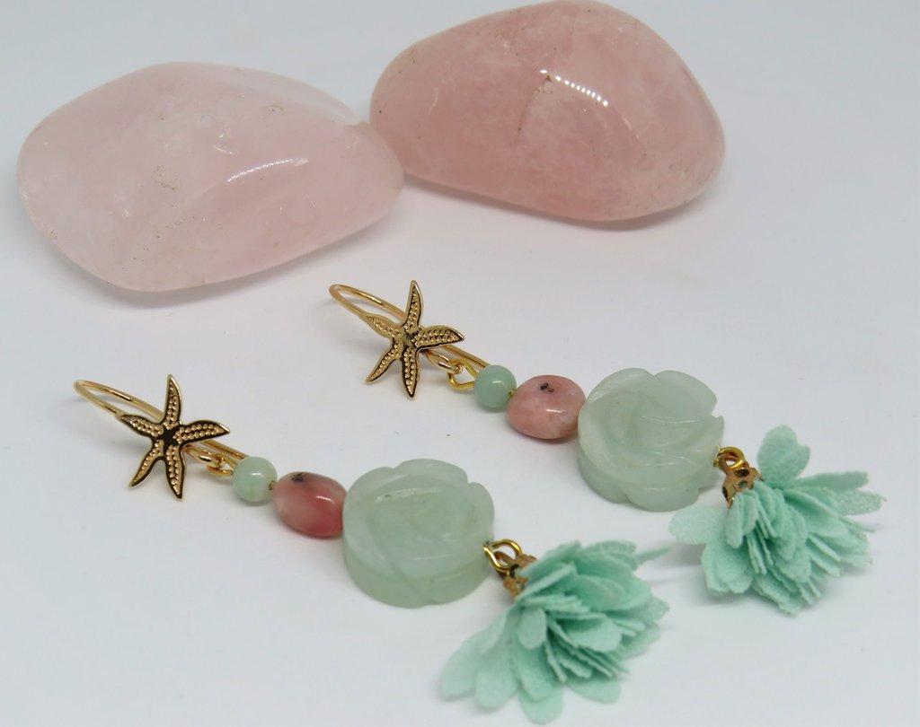 Orecchini in argento placcato oro e pietra dura Amazzonite e opale rosa fatti a mano
