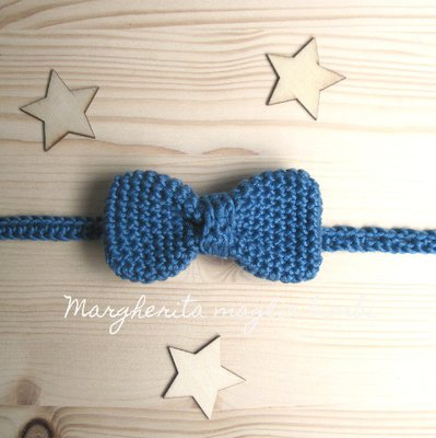 Farfallino papillon neonato/bambino - cotone blu jeans scuro - uncinetto - Battesimo