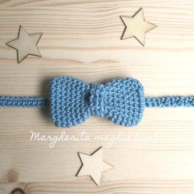 Farfallino papillon neonato/bambino - cotone blu jeans chiaro - uncinetto - Battesimo
