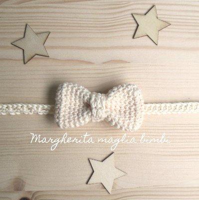 Farfallino papillon neonato/bambino - cotone avorio - uncinetto - Battesimo