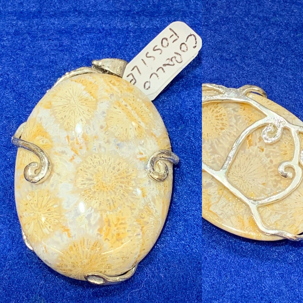 Ciondolo di corallo fossile con montatura in rame rodiato