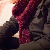 Sciarpa lana viola melange ai ferri