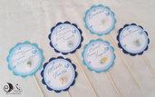 Bastoncini segnagusto confettata battesimo bimbo tondi smerlati azzurro e blu