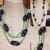 Collana Cristallo verde e Ametista