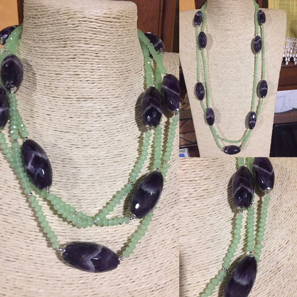 Collana lunghissima in ametista e cristalli verdi
