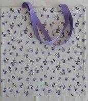 Shopper in tessuto fantasia anemoni viola lilla