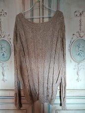 Maglia oro tricot da sera ai ferri  pull elegante donna maglia a trecce dorata fatta a mano