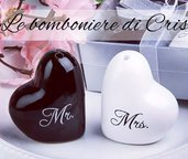 Bomboniera in ceramica, per matrimonio, Mr e Mrs cuore sale e pepe