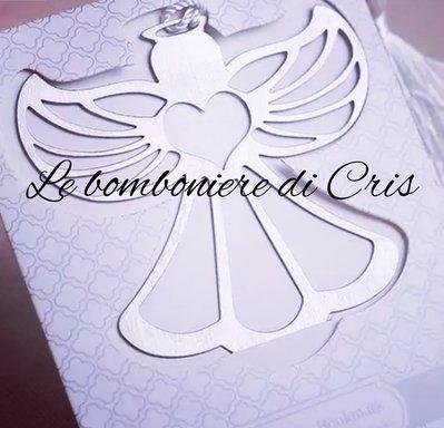 Bomboniera matrimonio, angelo segnalibro/segnaposto in metallo argentato
