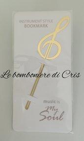 Bomboniera segnalibro/segnaposto chiave di violino in metallo dorato