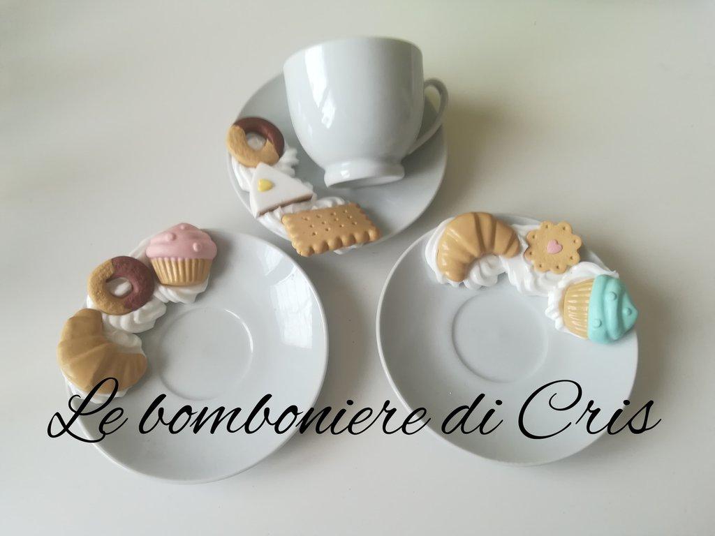 Tazzine per caffè con piattino decorato con fimo e silicone