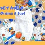 Set asilo personalizzato con nome, asciugamani bimbo, sacca asilo, sacchetto cambio, bavaglini con elastico, zainetto bambini, zaino bambino