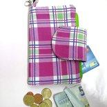 Portafoglio a quadri in tessuto di cotone acon tre tasche per banconote e documenti e tasca con cerniera per monete, portafoglio fucsia, verde