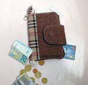 Portacellulare, portafoglio, portamonete, portafoglio donna, portafoglio tessuto, portafoglio colorato, pochette, idea regalo donna, custodia cellulare, borsa, borsetta, custodia, portafoglio a quadri, marrone, tartan