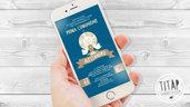 Invito digitale per la Prima Comunione di un Bimbo, per invio messaggistica instantanea, invito comunione invio whatsapp