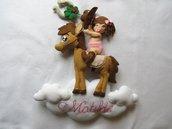 Fiocco nascita Baby cowgirl - Fiocco nascita cavallino - Decorazione cameretta - Fiocco nascita fatto a mano