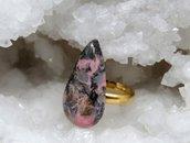 Anello in argento placcato oro con pietra dura Rodonite italiana pezzo unico fatto a mano