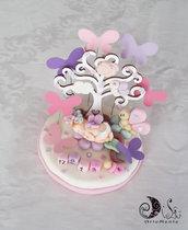 Cake topper albero della vita battesimo bimba farfalle