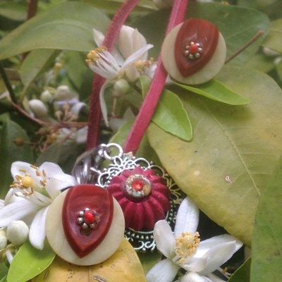 Parure orecchini collana con bottoni vintage