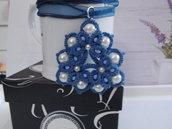 Pendente, Ciondolo, Blu, Chiacchierino, Perle bianche, Cristalli azzurri, fatto a mano, Idea regalo
